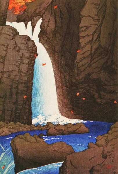 Wall Art - Painting - Travel Souvenir First Collection, Yuhi Waterfall, Shiobara - Digital Remastered Edition by Kawase Hasui