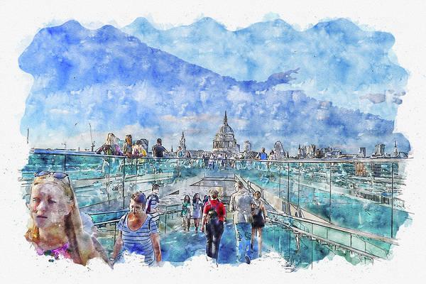 Wall Art - Digital Art - Travel #watercolor #sketch #travel #sky by TintoDesigns