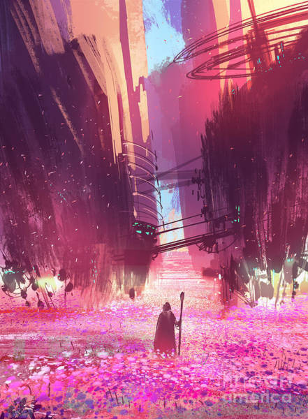 Wall Art - Digital Art - Traveler Standing In Pink Flowers by Tithi Luadthong