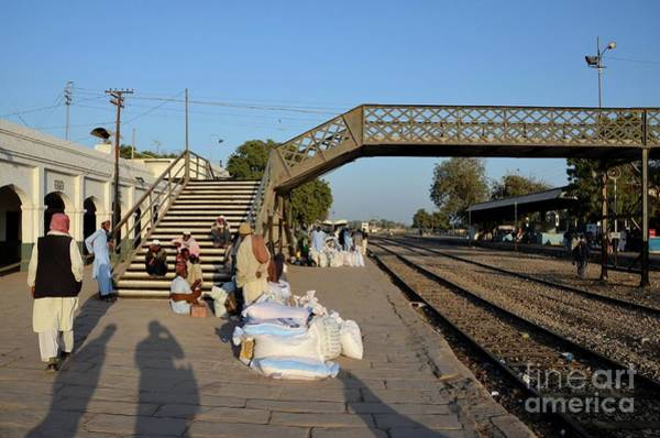 Photograph - Travelers And Traders Wait With Goods At Train Station Platform Mirpurkhas Sindh Pakistan by Imran Ahmed