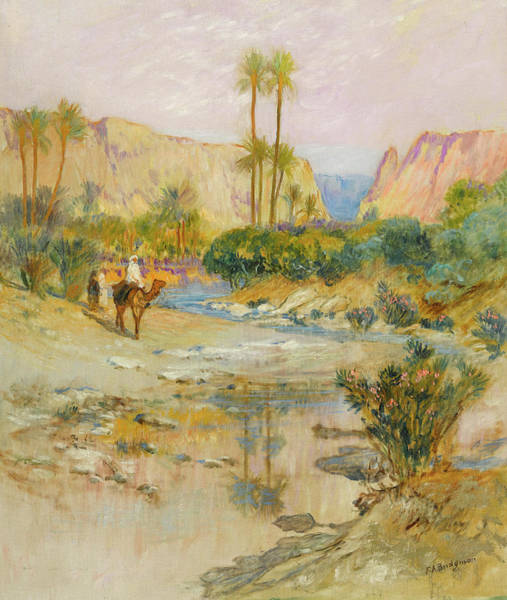 Wall Art - Painting - Travelers At The Oasis by Frederick Arthur Bridgman