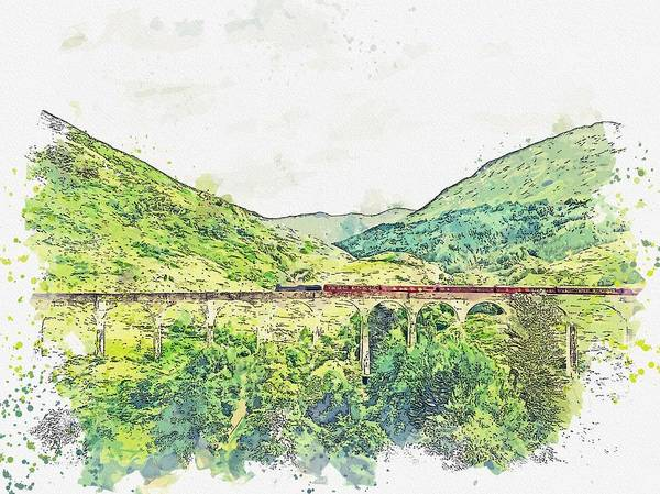 Wall Art - Painting - Traveling Over Glenfinnan Viaduct, Glenfinnan, Scotland Watercolor By Ahmet Asar by Celestial Images