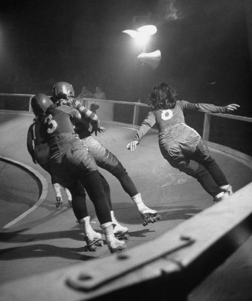 Wall Art - Photograph - Travelling Roller Derby Show Of Professi by George Skadding