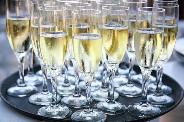 Tray Photograph - Tray Of Champagne Glasses by Jacqueline Veissid