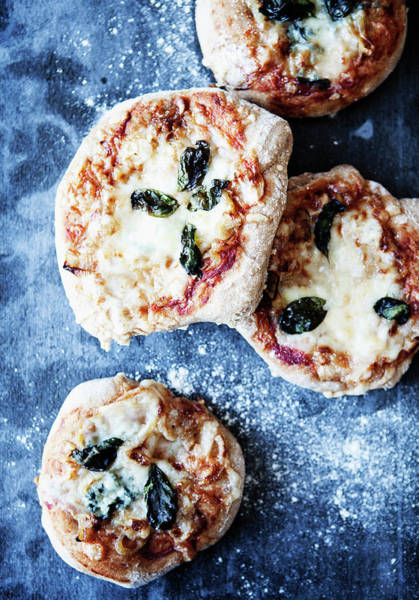 Buns Photograph - Tray Of Pizzas With Herbs by Line Klein