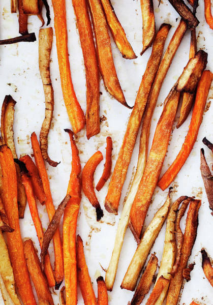 Vertical Line Photograph - Tray Of Roasted Vegetables by Line Klein