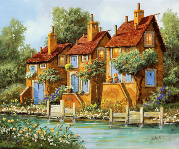 Wall Art - Painting - Tre Case Con La Luce by Guido Borelli