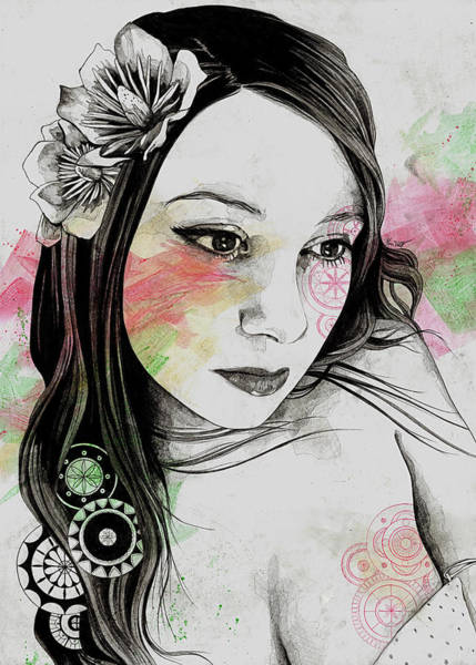 Young Drawing - Treasure - Young Cute Girl, Magnolia And Mandalas by Marco Paludet