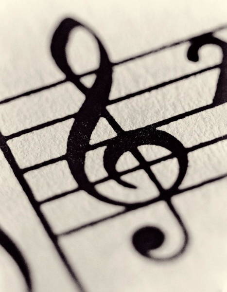 Sheet Music Photograph - Treble Clef, Close-up Toned B&w by Martin Barraud