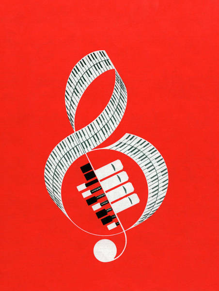 Keyboard Instrument Wall Art - Digital Art - Treble Clef Made Of Keyboards by Graphicaartis