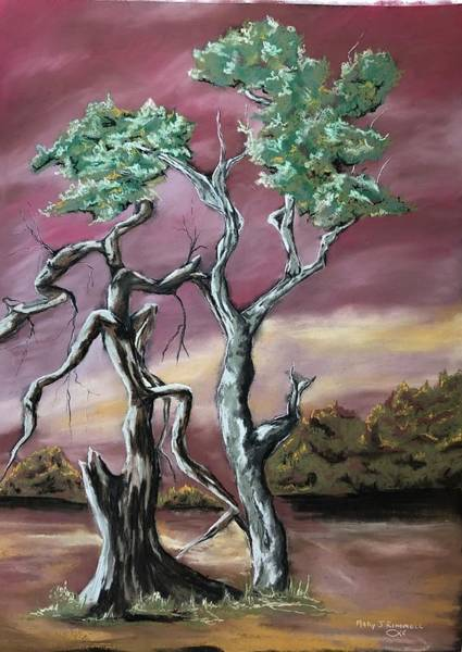 Pastel - Tree 4 Of 2 by Mary Rimmell