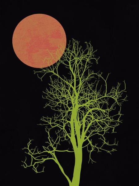 Earth Day Wall Art - Mixed Media - Tree And Orange Moon by Naxart Studio