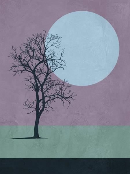 Earth Day Wall Art - Mixed Media - Tree And The Moon by Naxart Studio