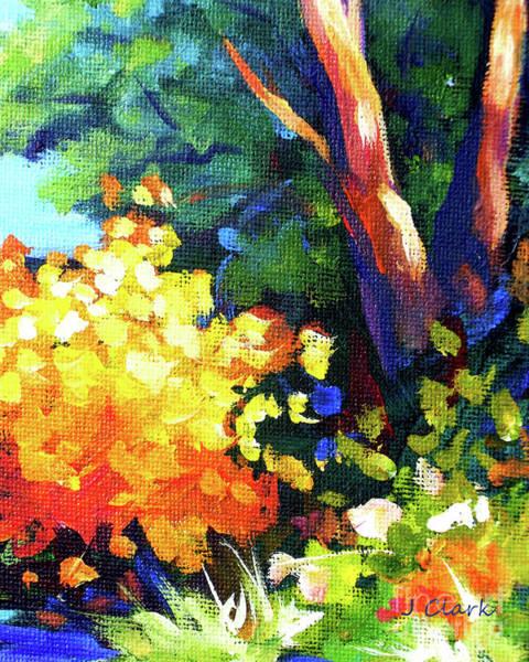 Bougainvillea Painting - Tree And Yellow Bush by John Clark