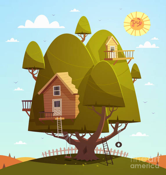 Wall Art - Digital Art - Tree House. Kids Background. Vector by Doremi