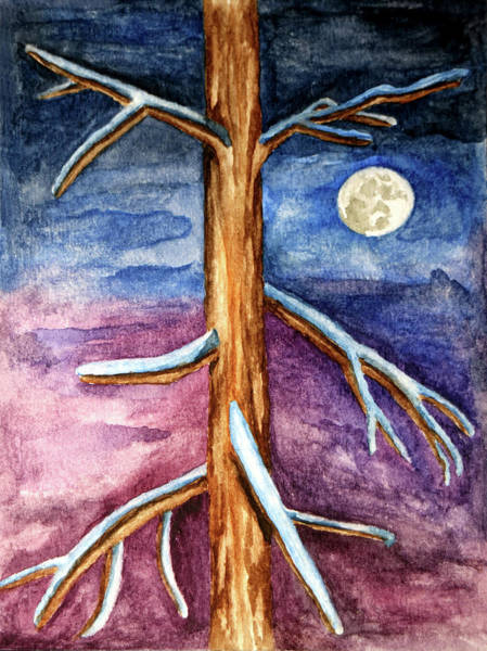 Painting - Tree In Winter Moonlight by Robert Morin