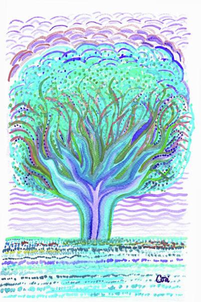 Digital Art - Tree Of Ages In Blue by Corinne Carroll