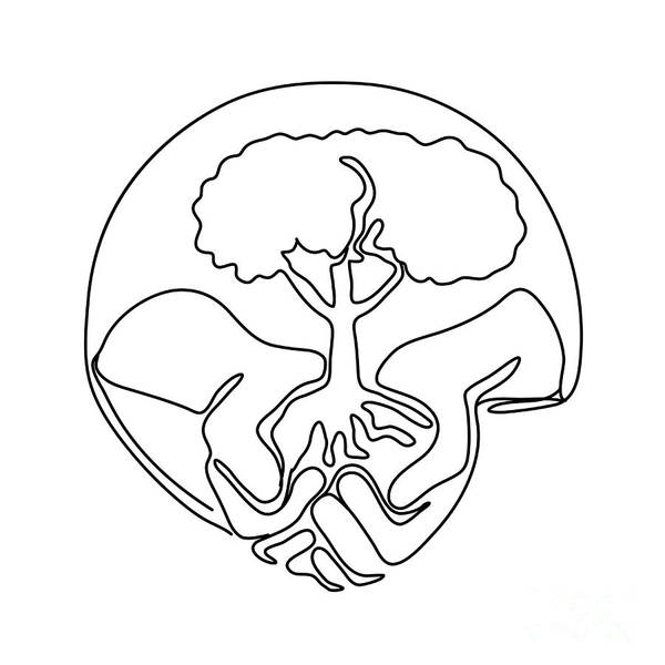 Wall Art - Digital Art - Tree On Palm Of Hand Continuous Line by Aloysius Patrimonio
