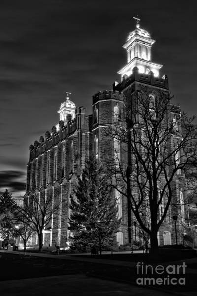 Photograph - Tree Silhouettes At The Logan Temple Black And White by Adam Jewell