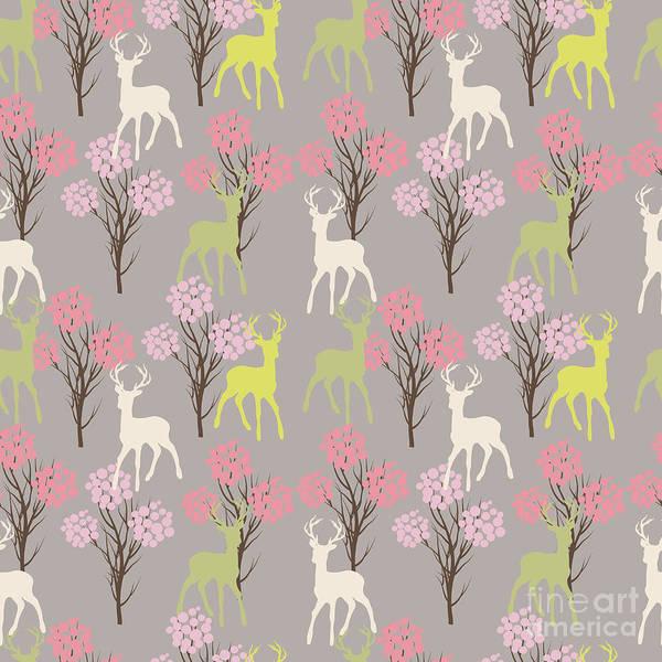 Wall Art - Digital Art - Trees And Deer.seamless by Teart Art