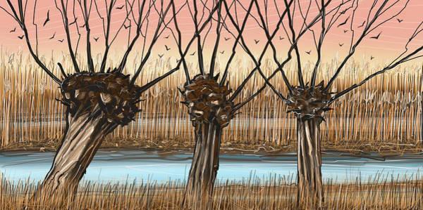 Wall Art - Digital Art - Trees And Reeds by Stuart Roy