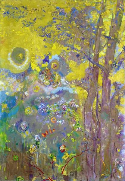 Wall Art - Painting - Trees On A Yellow Background - Digital Remastered Edition by Odilon Redon