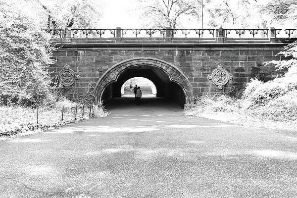 Photograph - Trefoil Arch Central Park Black And White by Sharon Popek