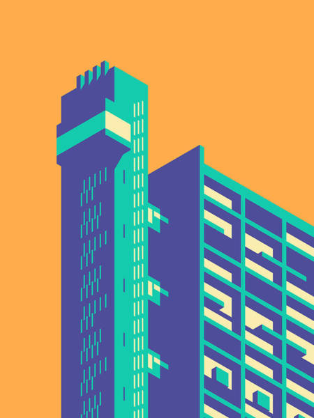 Wall Art - Digital Art - Trellick Tower London Brutalist Architecture - Plain Apricot by Ivan Krpan