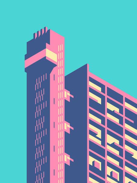 Wall Art - Digital Art - Trellick Tower London Brutalist Architecture - Plain Sky by Ivan Krpan