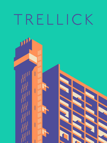 Wall Art - Digital Art - Trellick Tower London Brutalist Architecture - Text Turquoise by Ivan Krpan