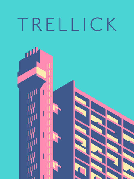 Wall Art - Digital Art - Trellick Tower London Brutalist Architecture - Text Sky by Ivan Krpan