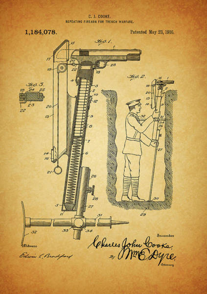 Drawing - Trench Warfare Gun by Dan Sproul