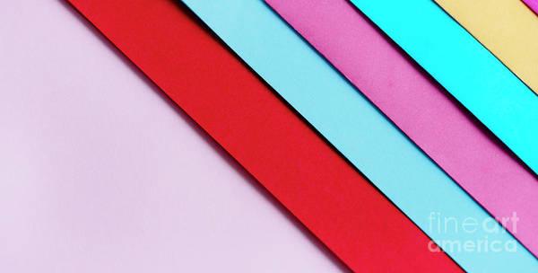 Photograph - Trendy Pastel Colors In Geometry Shape Flat Lay. Colorful Rainbo by Jelena Jovanovic