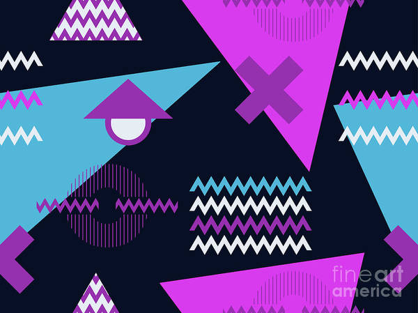 Wall Art - Digital Art - Trendy Seamless Pattern. Geometric by Andrii Vinnikov