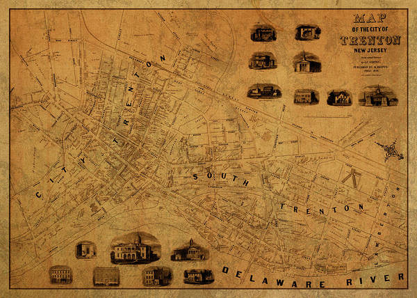 New Jersey Mixed Media - Trenton New Jersey Vintage City Street Map 1849 by Design Turnpike