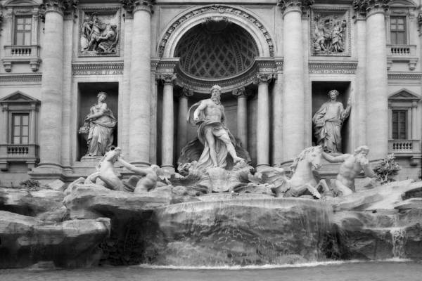 Photograph - Trevi Fountain Or Fontana Di Trevi In Rome Italy In Black And White by Angela Rath