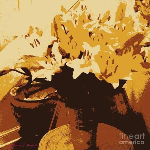 Wall Art - Digital Art - Tri Tone Flowers by Karen Francis