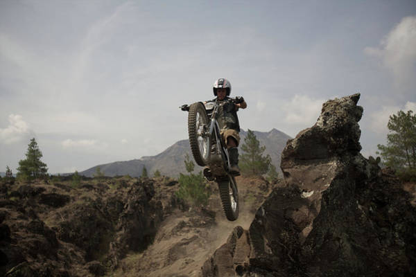 Crash Helmet Photograph - Trial Bike Jumping A Ravine, Airborne by Benzin