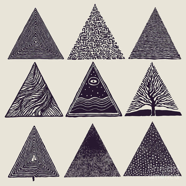 Engraved Digital Art - Triangles Set. Vector Illustration by Jumpingsack