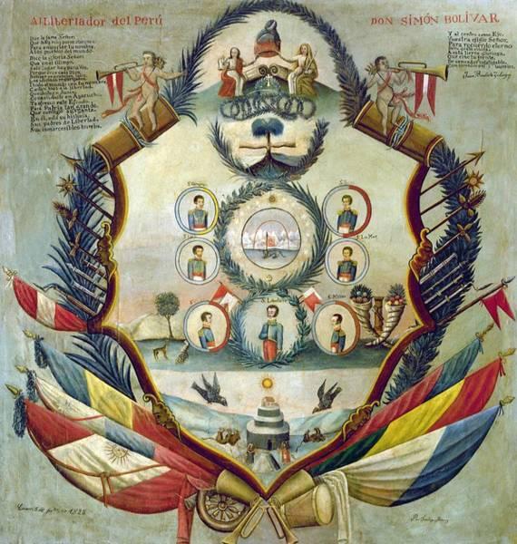 Tribute To Simon Bolivar -1825- By Santiago Juarez . Art Print