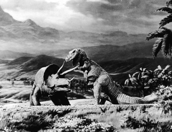 Rex Photograph - Triceratops & Tyrannosaurus by American Stock Archive