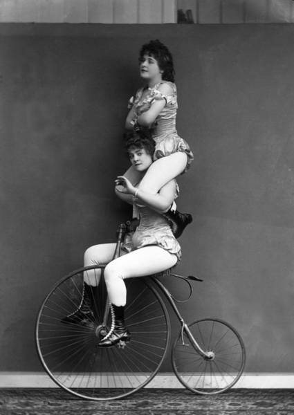 Business Cycles Wall Art - Photograph - Trick Cyclists by London Stereoscopic Company