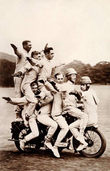 Crash Helmet Photograph - Trick Motorcyle Riding Display by Popperfoto