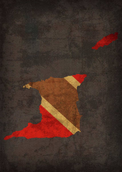 Trinidad Wall Art - Mixed Media - Trinidad And Tobago Country Flag Map by Design Turnpike