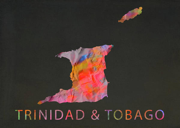 Trinidad Wall Art - Mixed Media - Trinidad And Tobago Tie Dye Country Map by Design Turnpike