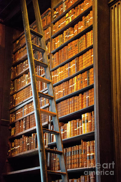 Photograph - Trinity College Library Books And Ladder by Bob Phillips