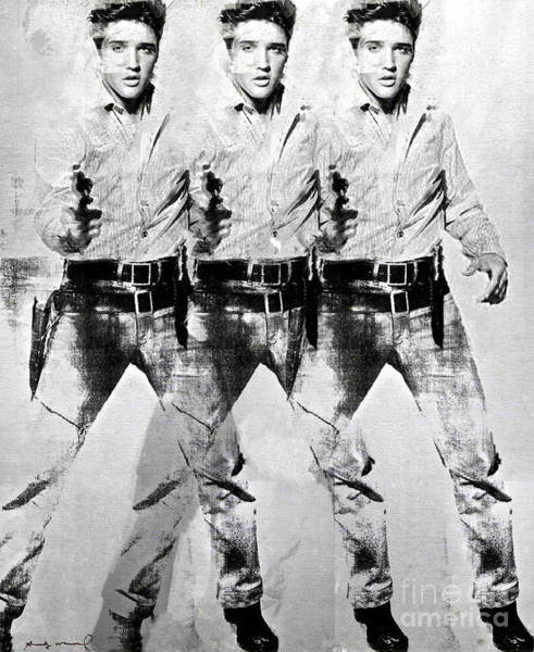 Wallpaper Mixed Media - Triple Elvis, Andy Warhol by Thomas Pollart