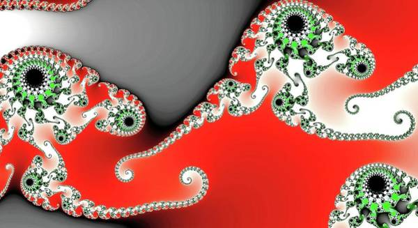 Digital Art - Triple Eye Spiral Fractal Red by Don Northup