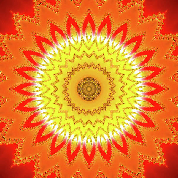 Wall Art - Digital Art - Trippy Mandala Yellow Orange Red by Matthias Hauser