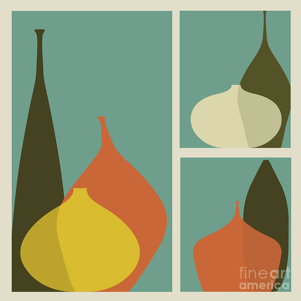 Wall Art - Digital Art - Triptych Of Vases by Trendywest
